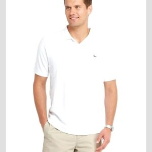 Vineyard Vines White Collar Henley Polo Shirt